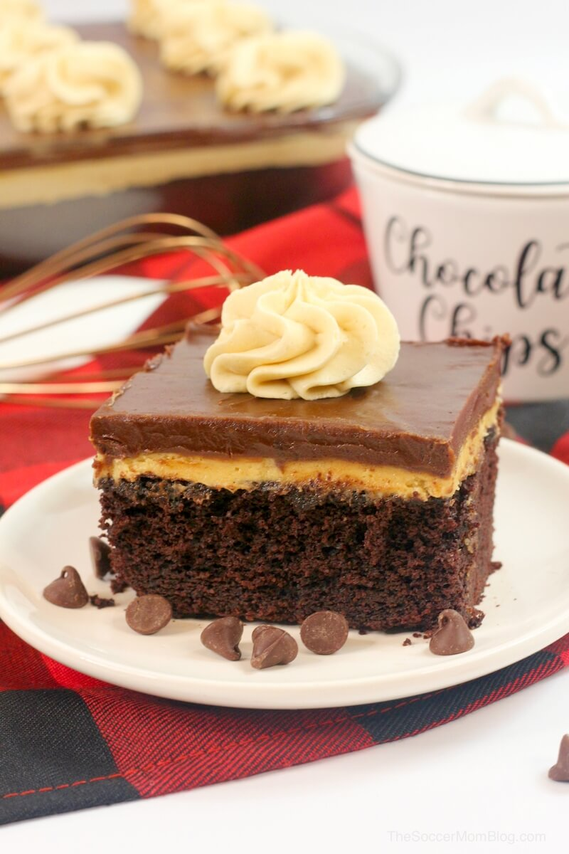 Chocolate Peanut Butter Texas Sheet Cake: fluffy chocolate sheet cake topped with rich peanut butter cream and chocolate icing — perfection in every bite!