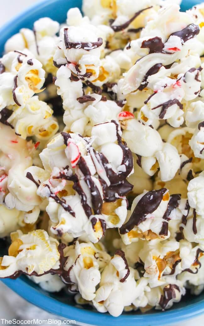 This Peppermint Bark Popcorn is the perfect sweet and salty treat for holiday parties or snacking while watching your favorite Christmas movies!