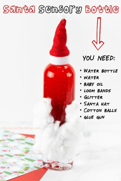 How to make cute and easy Santa sensory bottles for Christmas — a festive craft and calming toy for kids!