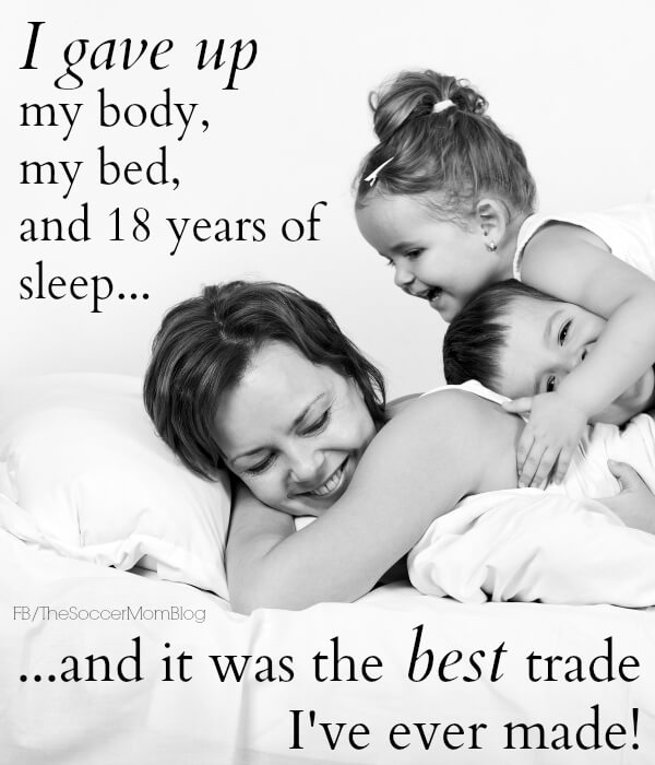 motherhood quote - photo of mom with two kids