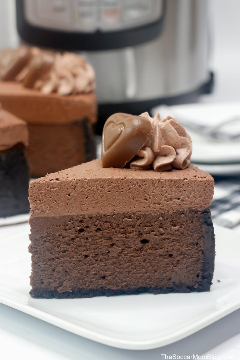 Slice of Godiva chocolate cheesecake made in an Instant Pot