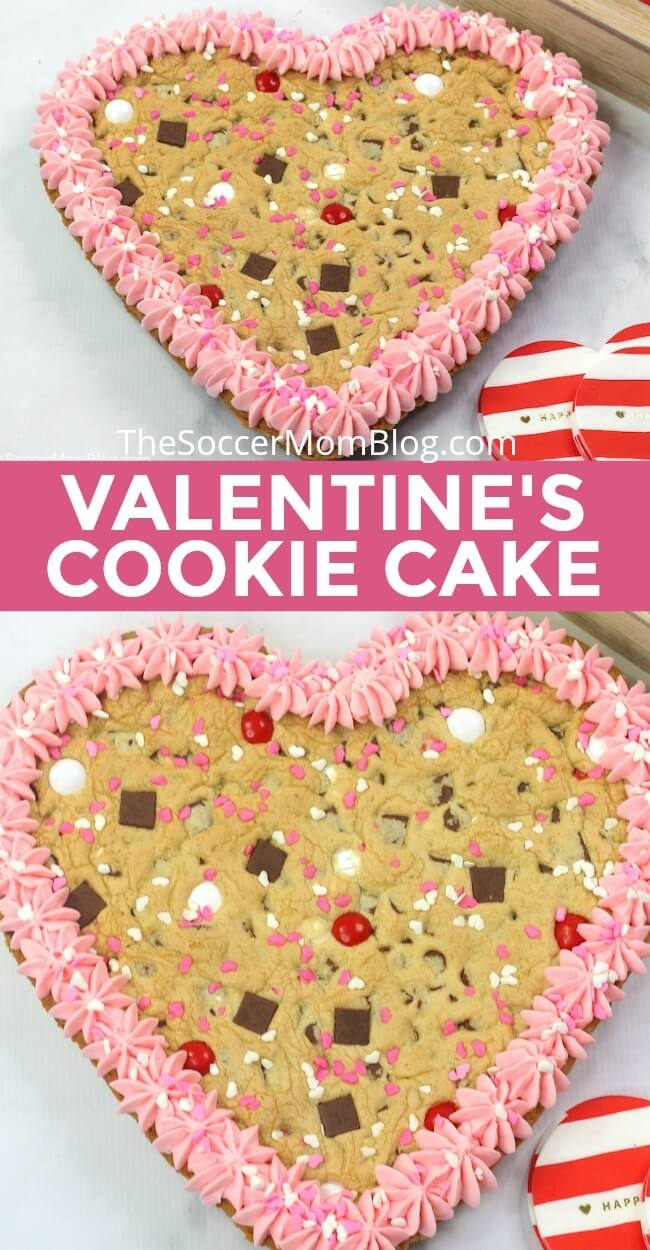 Show your love with this sweet heart shaped cookie cake! A fresh baked extra thick chocolate chip cookie topped with delicious pink buttercream!