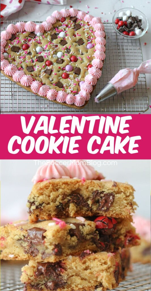 collage image of heart shaped cookie cake and stack of chocolate chip cookie bars