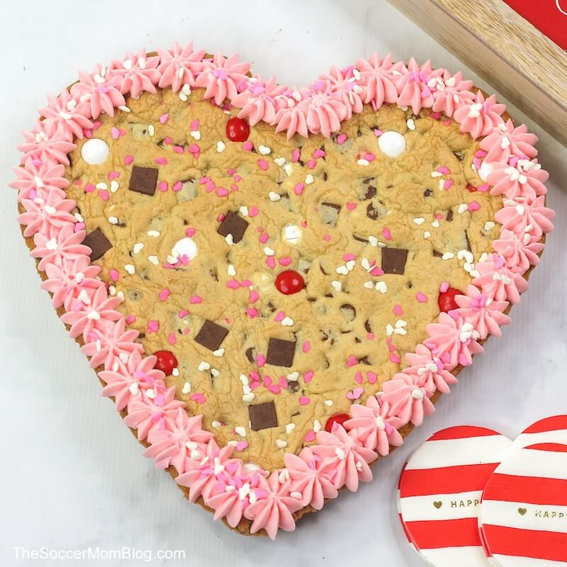 heart shaped cookie cake for Valentine's Day