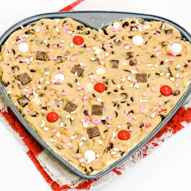 Valentine's Day chocolate chip cookie dough in cake pan