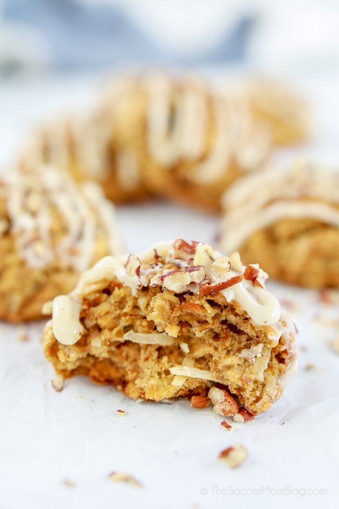 carrot cake flavored oatmeal cookie, ripped in half