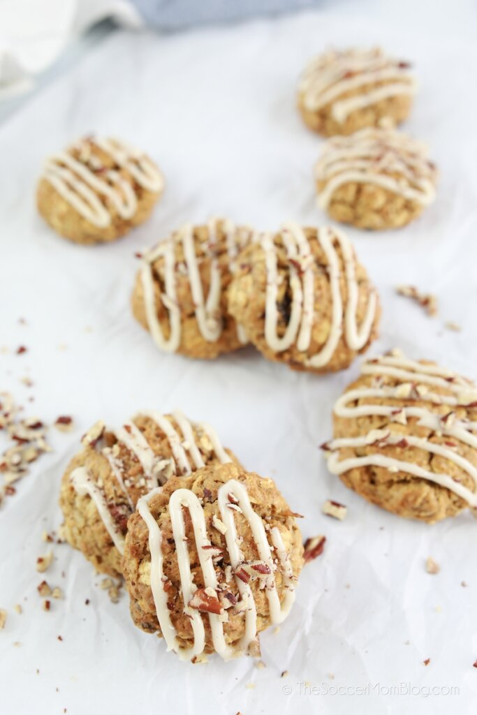 carrot cake cookies drizzled with cream cheese icing
