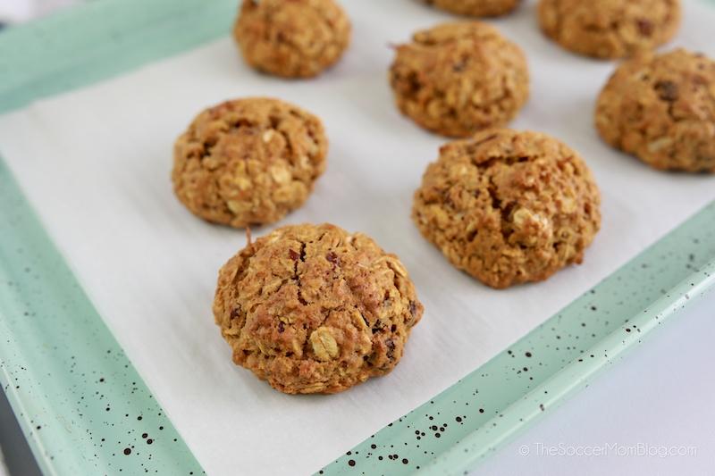 carrot cake oatmeal cookies freshly baked on cookie sheet