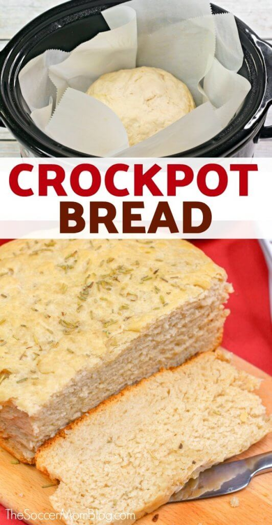 Soft, fluffy and buttery bread with a hint of aromatic rosemary...baked in the crockpot?! This slow cooker bread recipe is easy and delicious — you may never want to bake bread in the oven again!