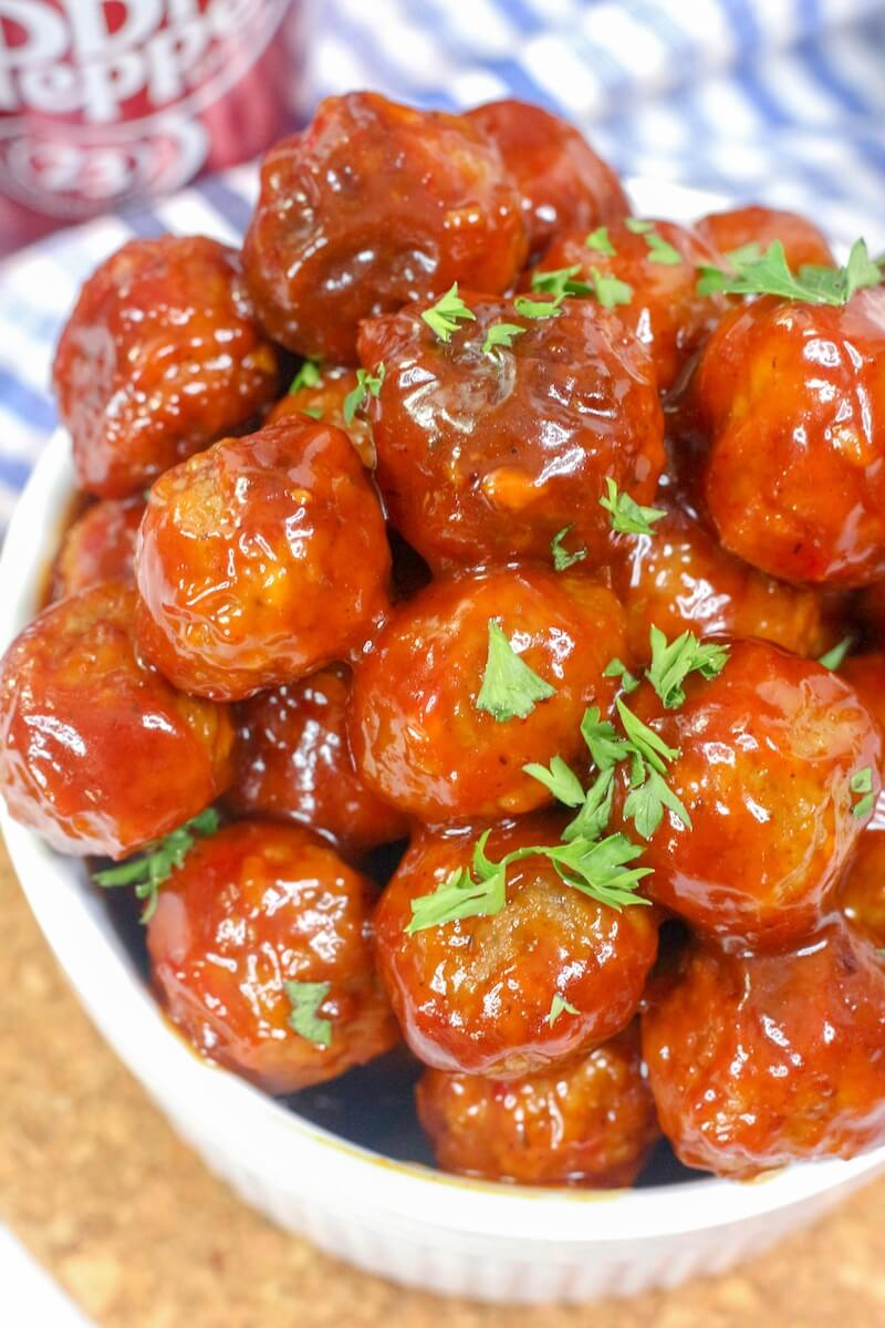 close up of meatballs slathered in Dr. Pepper BBQ sauce