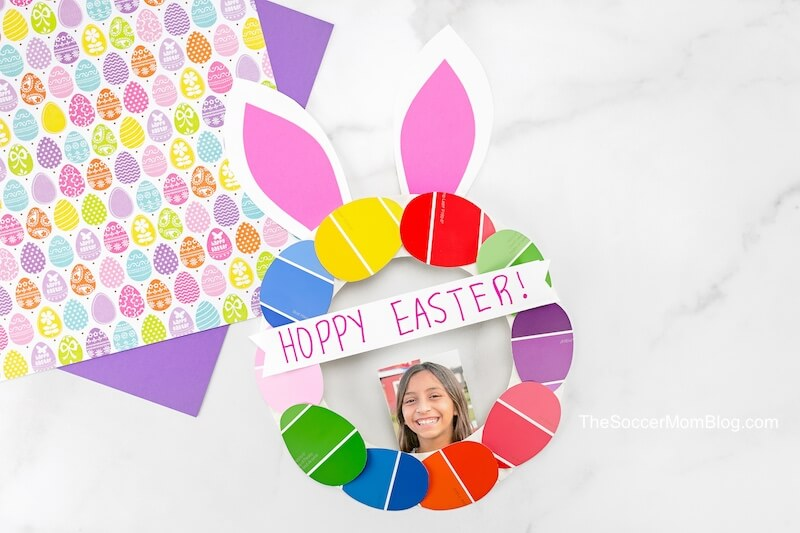 paper plate Easter bunny wreath