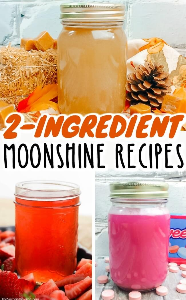 How to make three different flavored moonshine recipes at home. Each of these homemade moonshine recipes is only 2 ingredients and couldn't be easier!