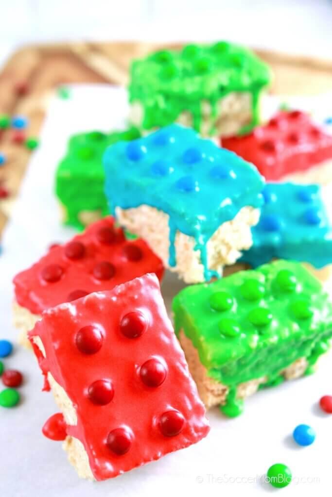 rice krispies treats decorated to look like LEGO bricks