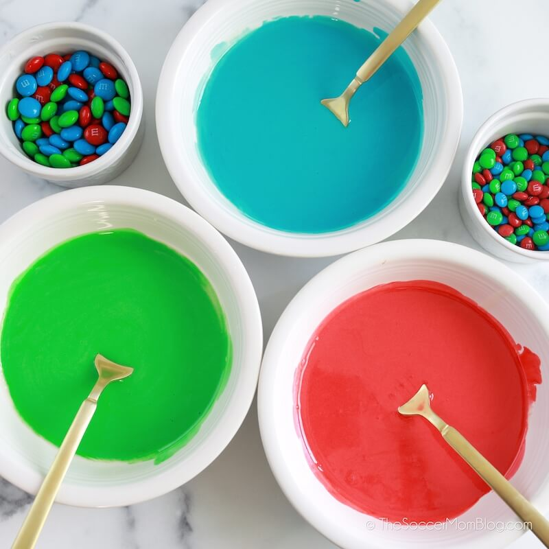 mixing royal icing in bright colors