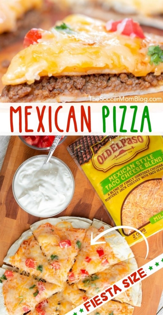 Warm flour tortillas, perfectly seasoned ground beef, and melty cheese combine to create the perfect family-size appetizer in our Grande Mexican Pizza!