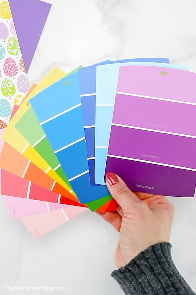handful of paint sample strips