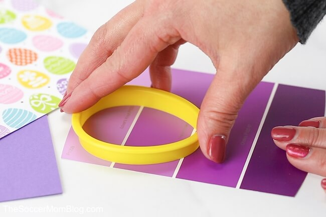 Easter egg cookie cutter on paint strip