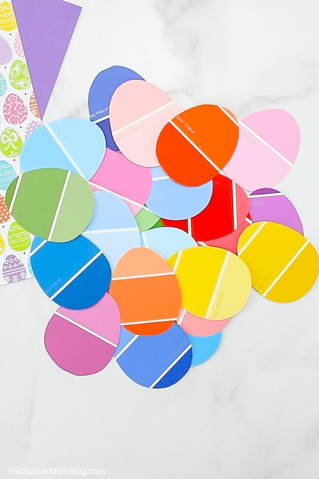 Easter eggs made from colorful paint strips