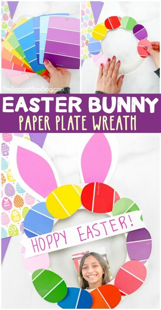 This paper plate Easter bunny wreath is both adorable and easy! This is a wonderful Easter kids craft to make when you don't have time to run to the store because it only requires basic arts and craft supplies!