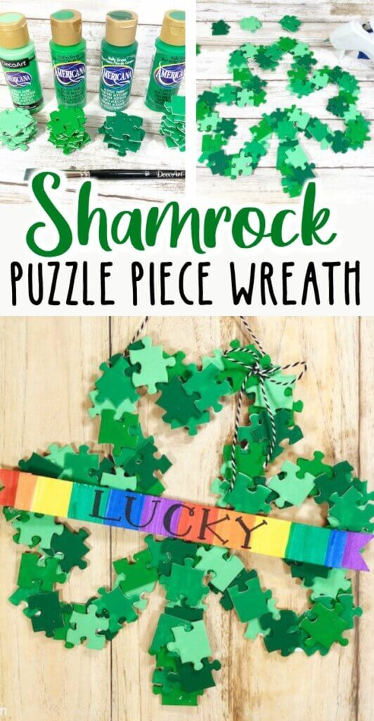 Add a lucky touch to your St. Patty's Day decor with this super cute DIY Shamrock Wreath! All you need is a dollar store puzzle, a recycled cardboard box, and simple art supplies!