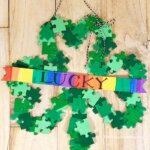 Shamrock Wreath Craft made with puzzle pieces