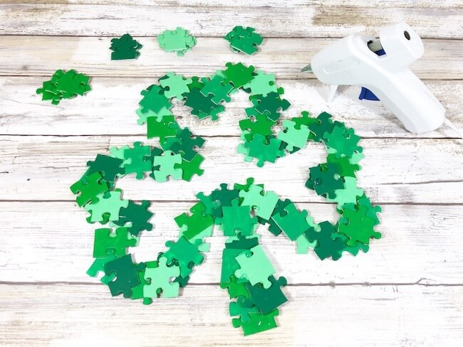 making a shamrock wreath from puzzle pieces