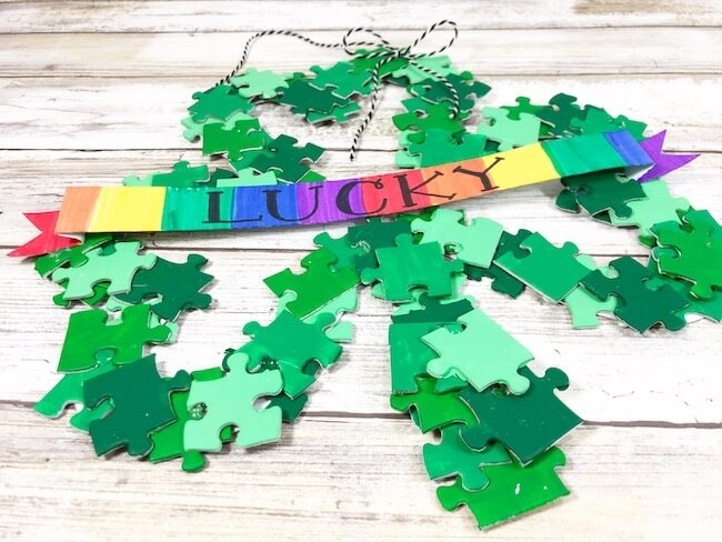 St. Patty's Day puzzle wreath