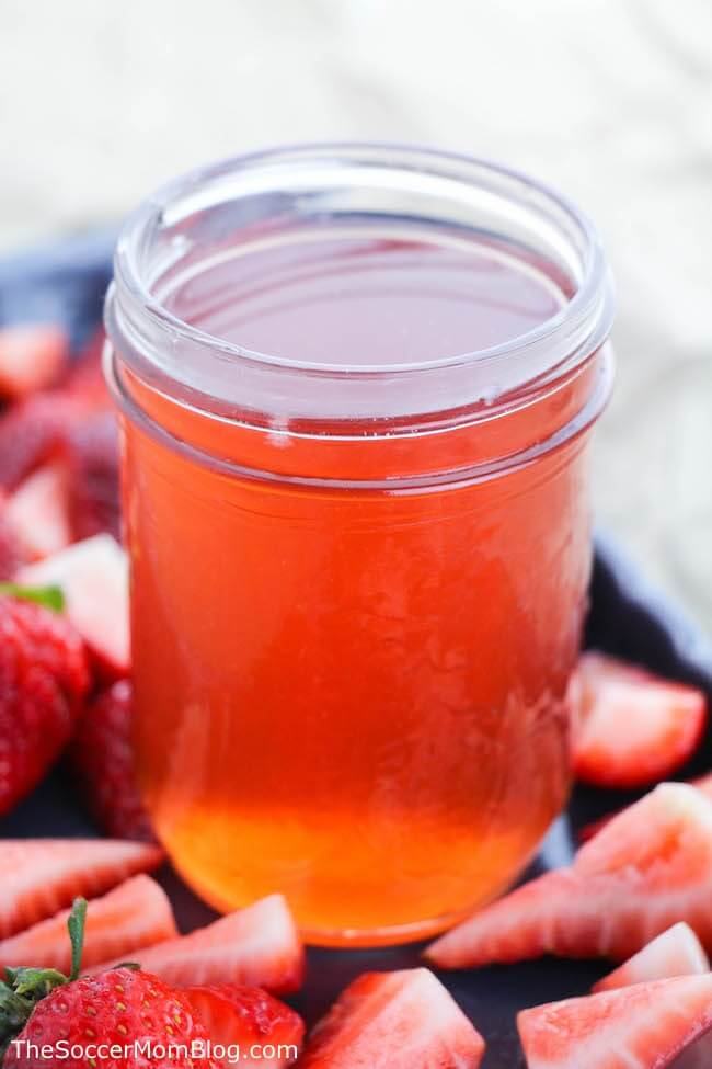 homemade fruit infused moonshine in pint jar