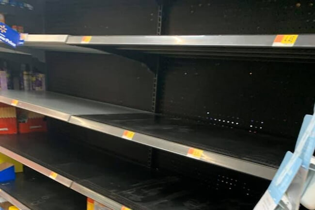 empty grocery store shelves during coronavirus panic