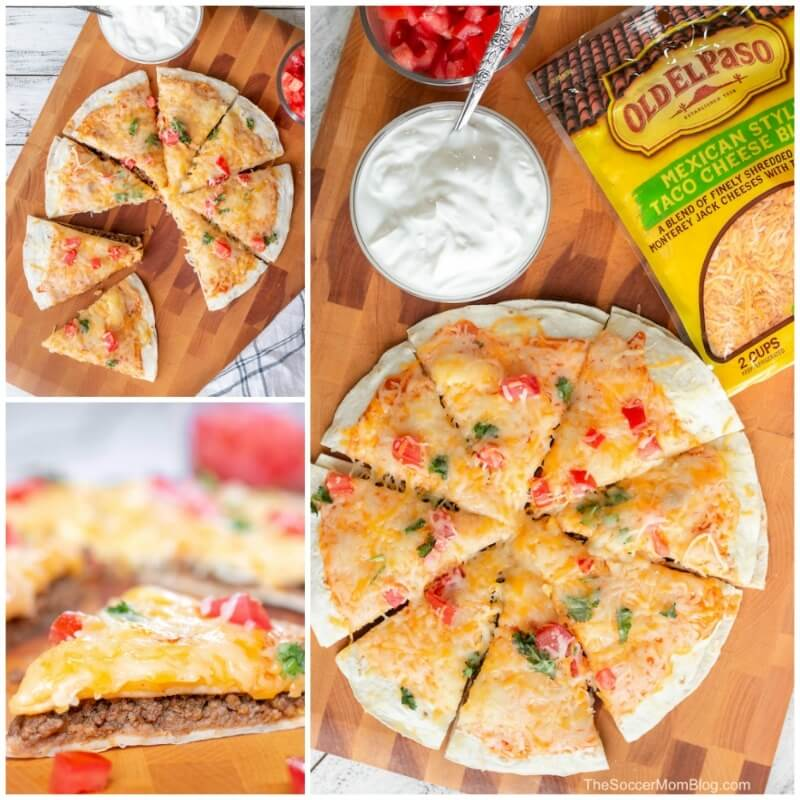 collage of Mexican pizza images