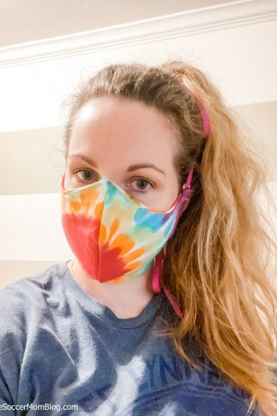 homemade cloth face mask made from a tie-dye t-shirt