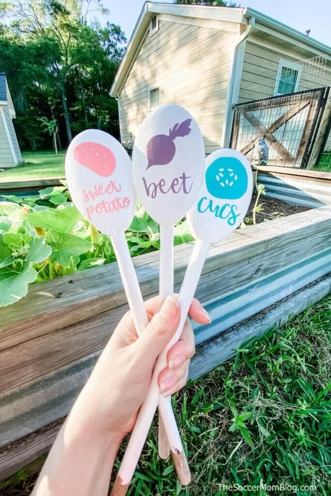 DIY Garden Spoons made with Cricut Joy