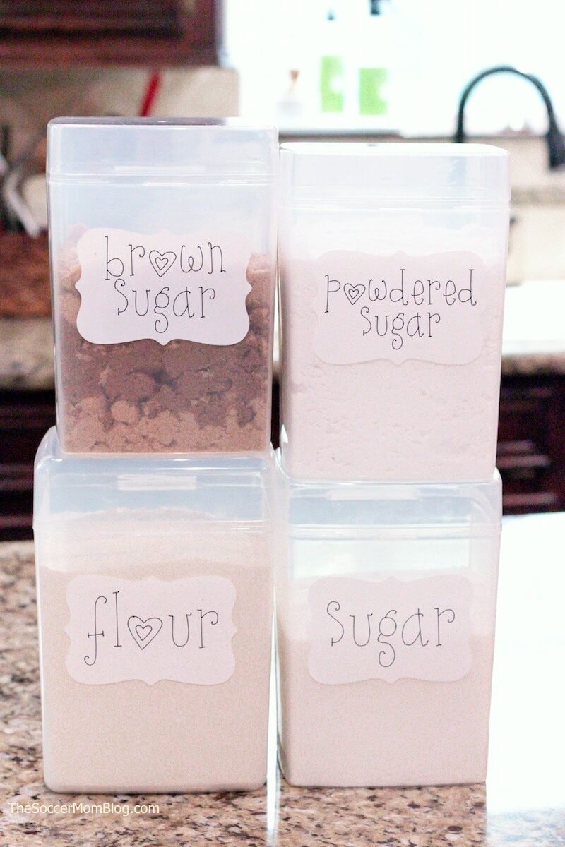 sugar canisters with DIY pantry labels made with Cricut Joy