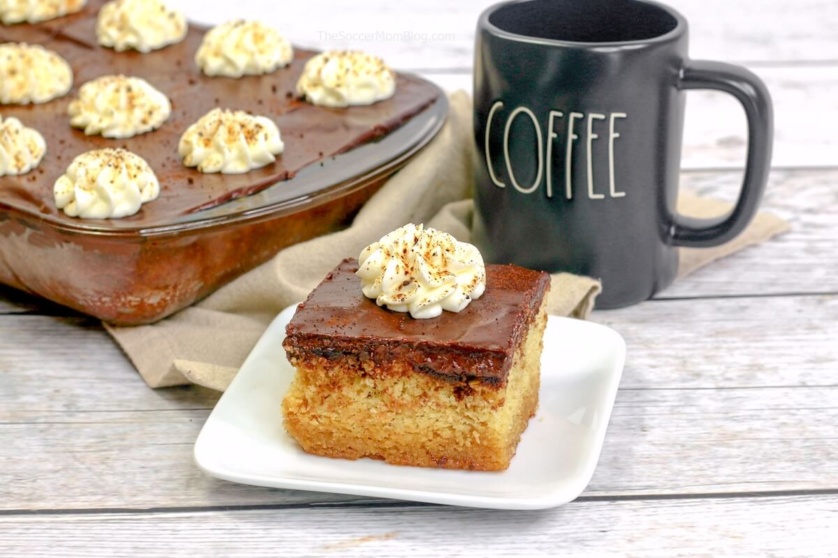 coffee flavored cuppa joe cake slice with coffee mug