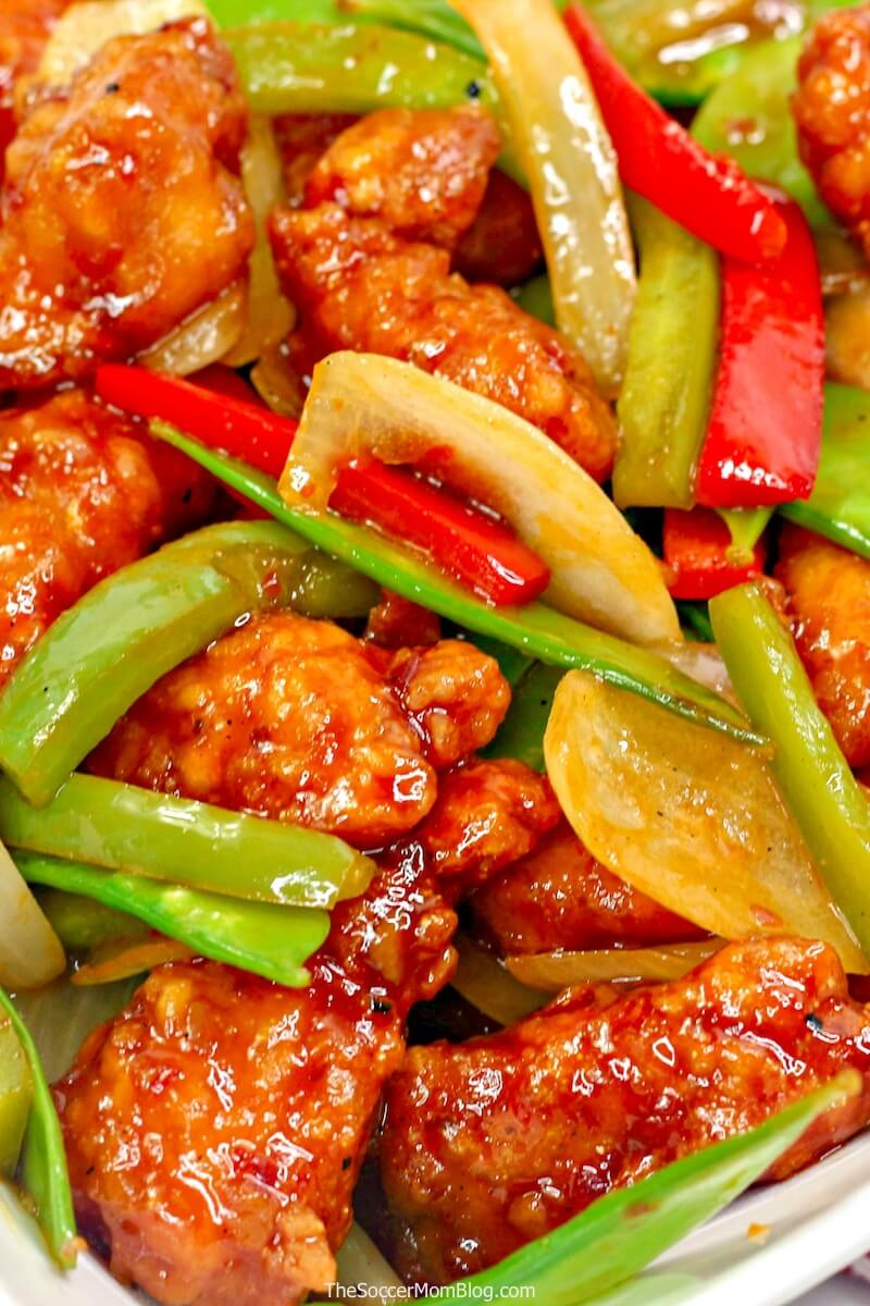 close-up of firecracker chicken