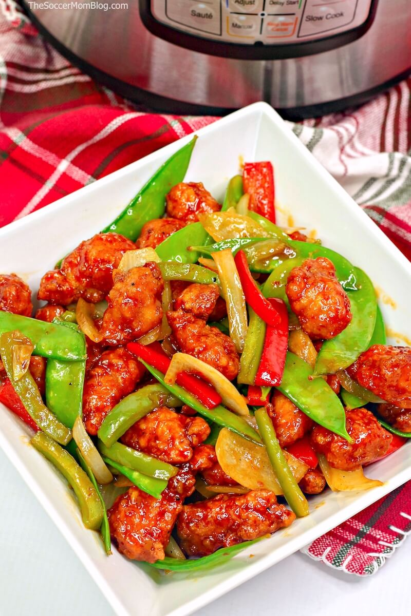 bowl of crispy Asian-style chicken with veggies