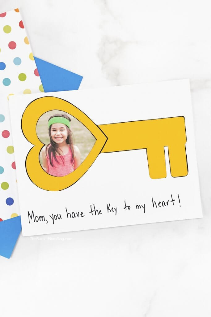 "This ""Key to My Heart Card"" is a thoughtful kid-made card idea that's perfect for just about any occasion, from Mother's Day to Valentine's Day! Personalize our free template with your child's photo!"