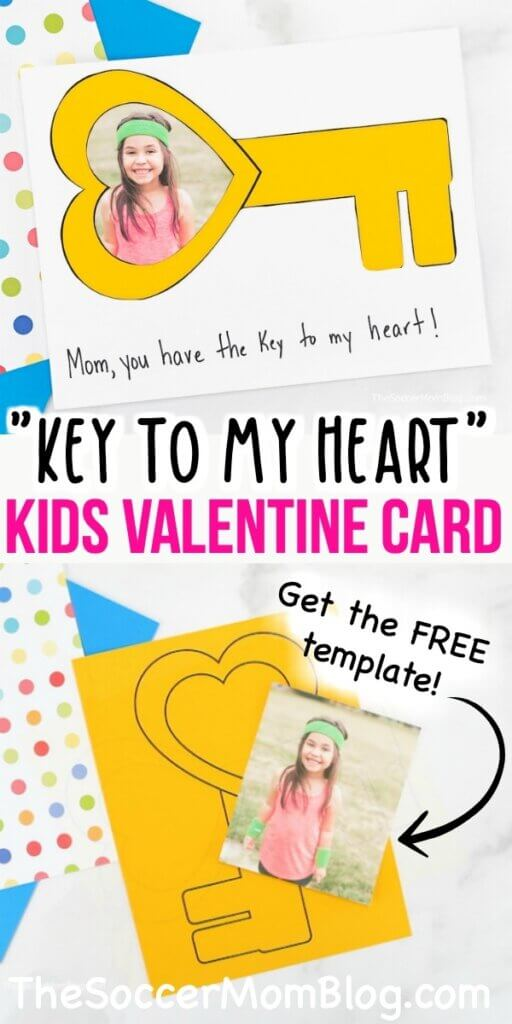 easy key-shaped photo card for Valentine's Day