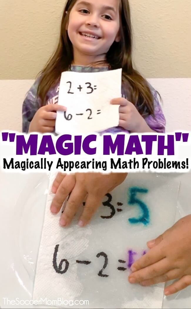 "A quick and easy math activity that you can do at home with kids using only markers and paper towels! The answers magically appear when you add water! ""Magic Math"" is a hit inn our house and a fun way for elementary school aged kids to practice addition, subtraction, and more!"