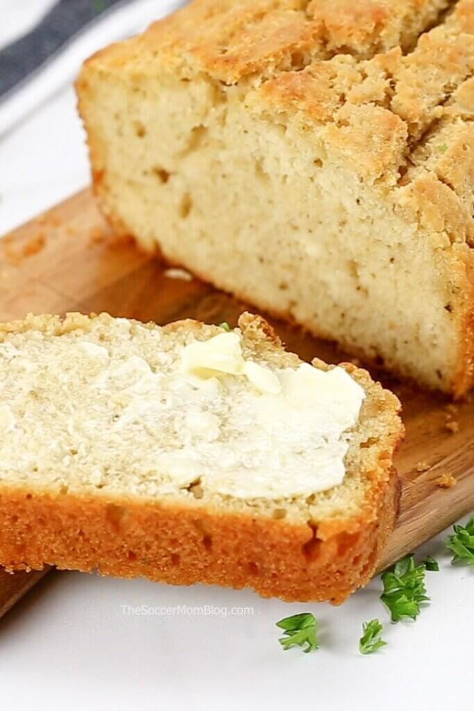 close up of a slice of fresh baked beer bread