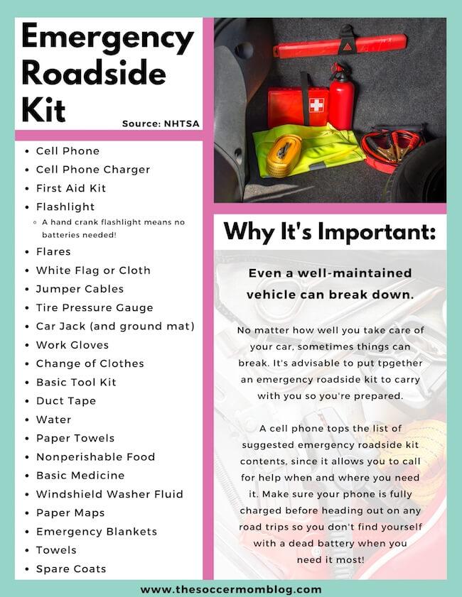 vehicle emergency roadside kit packing list
