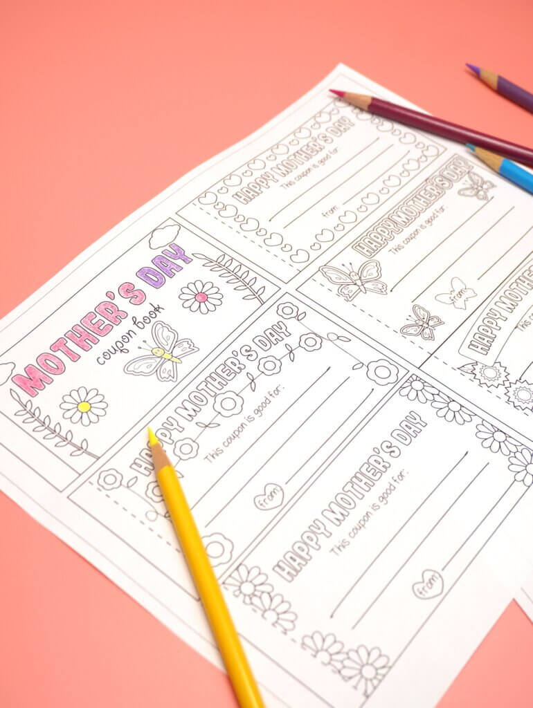 Mother's Day coupon book from kids