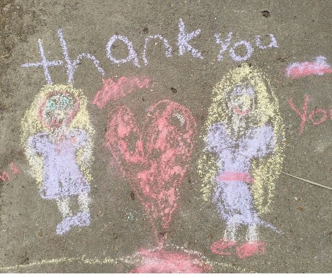 sidewalk chalk to decorate the neighborhood during stay at home and shelter in place