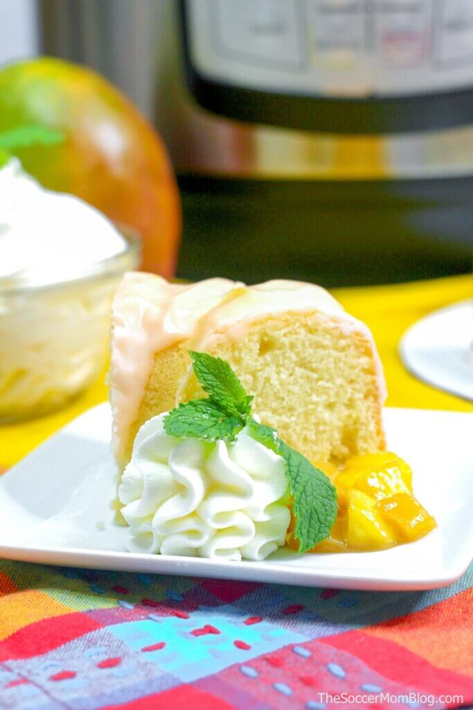 slice of mango cake with Instant Pot in background