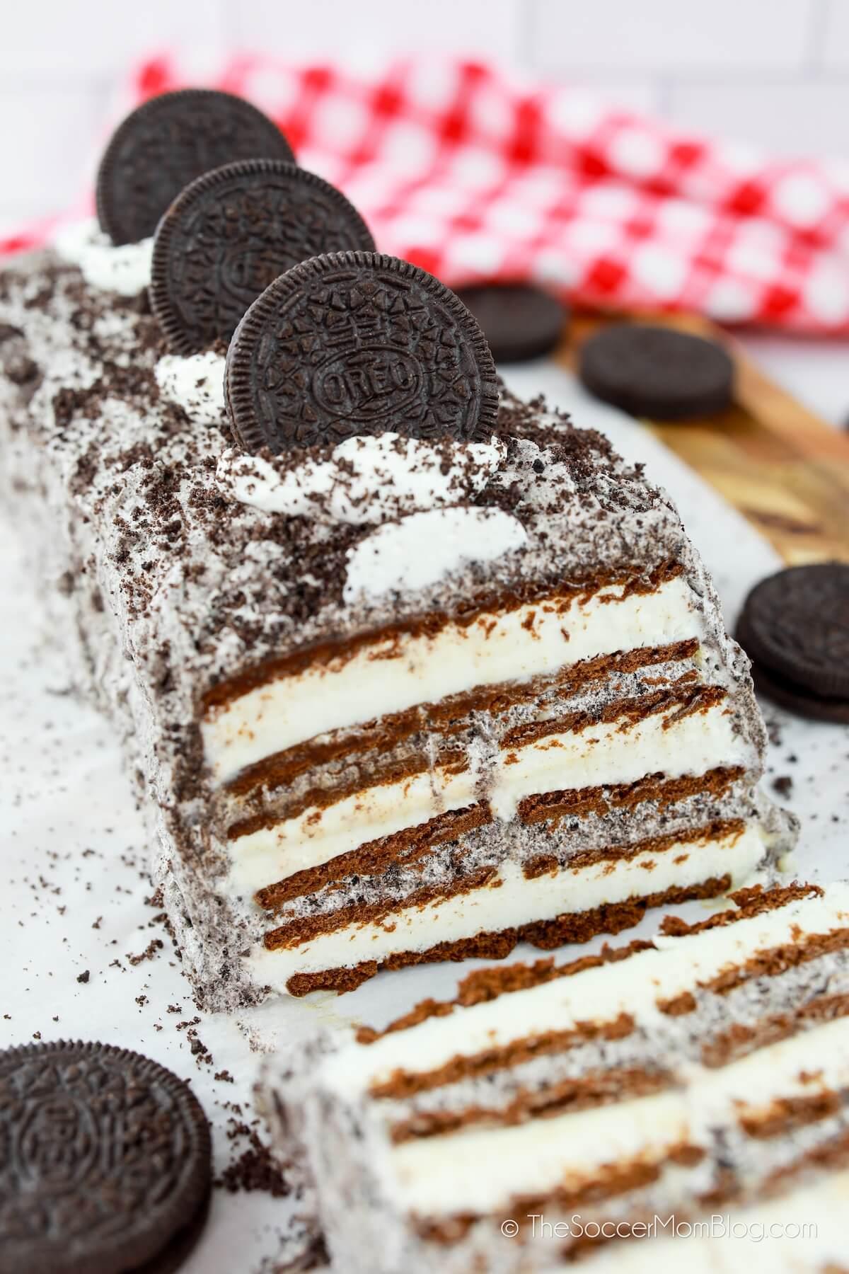 ice cream cake made with ice cream sandwiches