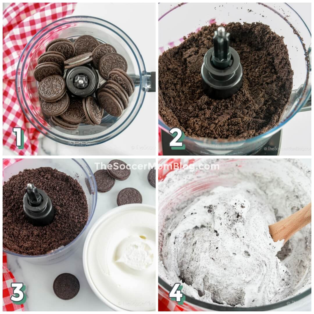 photo collage showing how to make frosting with Oreo crumbs and whipped topping