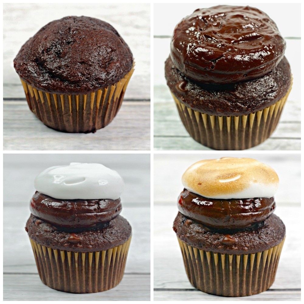 collage image showing how to layer s'mores cupcakes