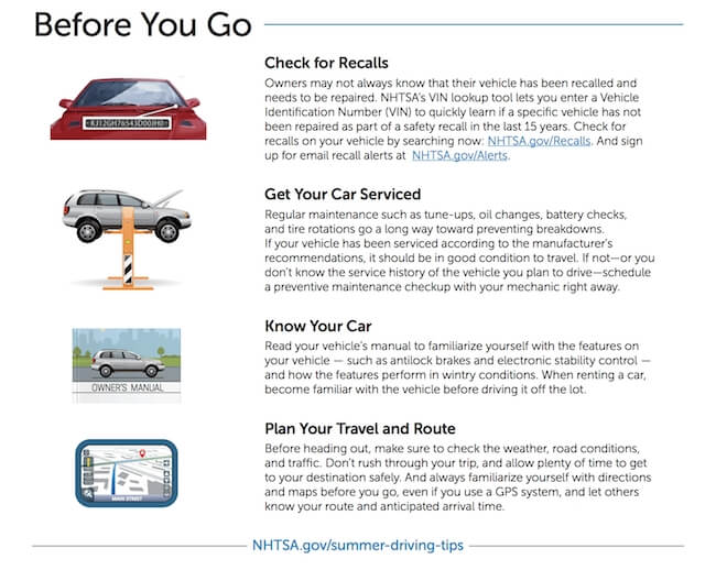 summer driving tips from NHTSA