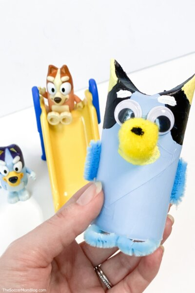 Bluey craft for kids made with toilet paper roll