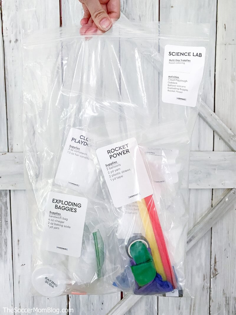 plastic bag with science activity supplies inside